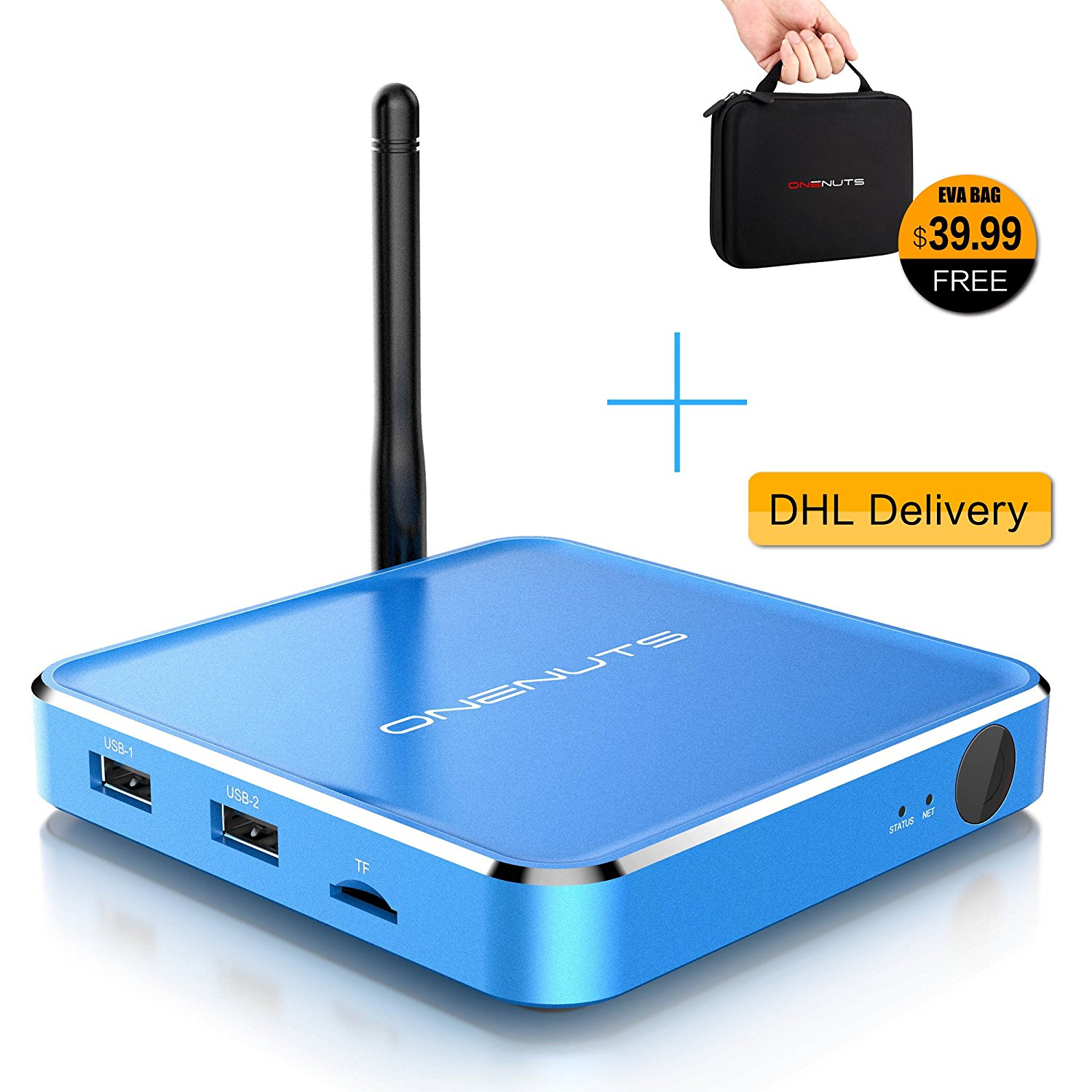 2-in-1 Octa Core S912 Streaming Media Player & Game Android TV Box With Android 6.0 Marshmallow 2G DDR3 16G EMMC Dual-Band AC WIFI support YouTube Netflix Facebook And Many More - Onenuts Nut 1 Blue