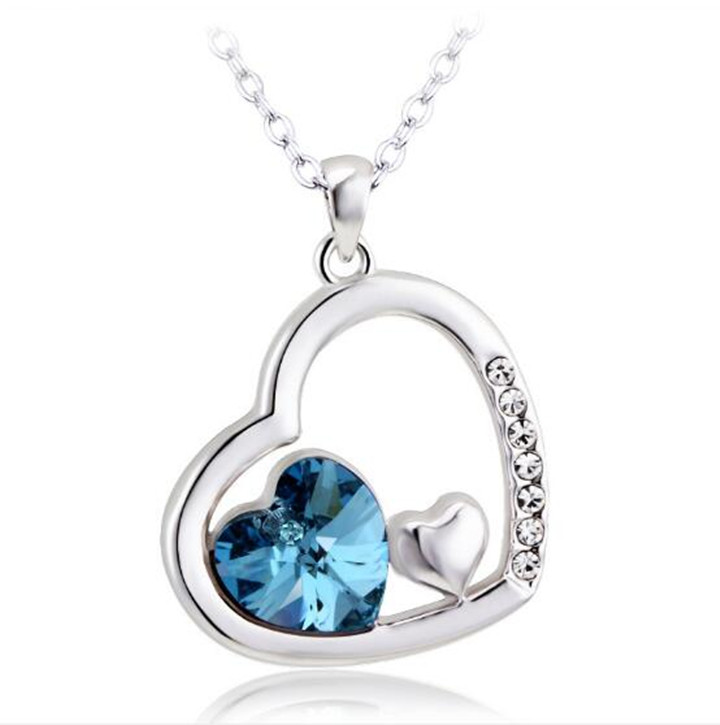 Fashionable Simple Women Blue Purple Aquamarine Crystal Necklace Round Diamond Choker Necklace Pendant