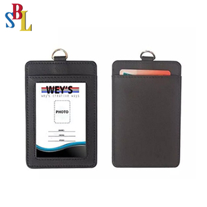 Double Sided PU Leather ID Card Badge Holder with Neck Strap