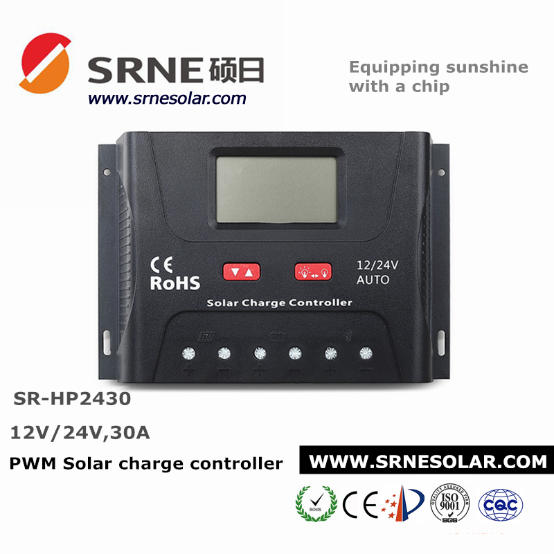 24V//12V Solar Charge Controller 30A PWM Solar Battery Charger LCD USB