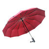 2019 high quality 12 ribs strong windproof red 3 folding umbrella