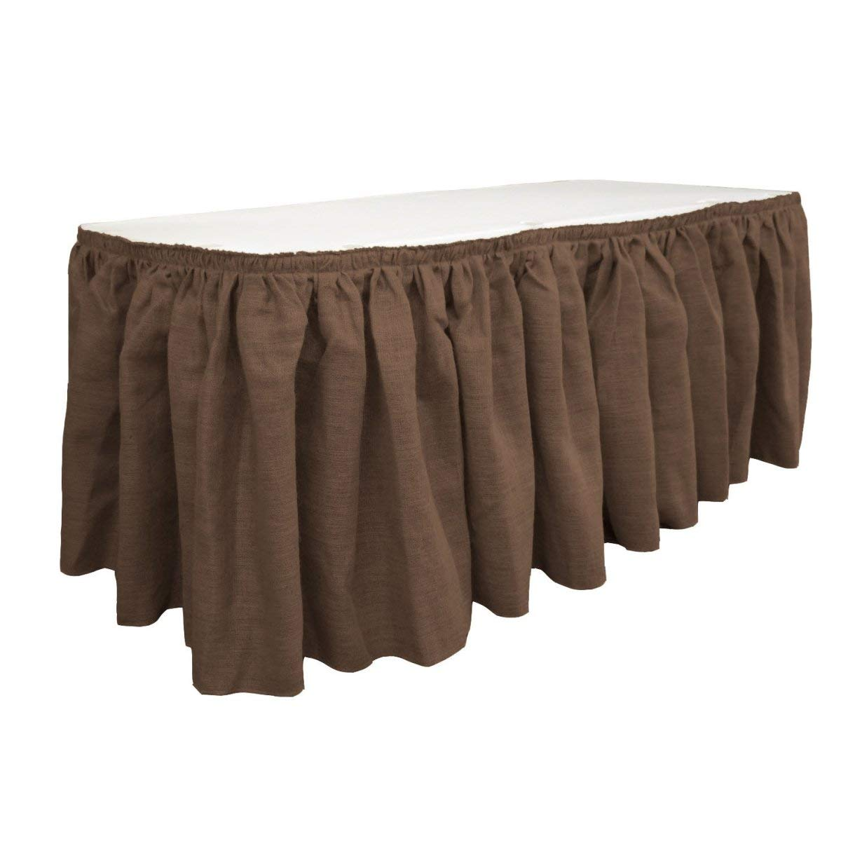 LA Linen SkirtBurlap17x29-10Lclips-Brown Burlap Table Skirt with 10 L-Clips44; Brown - 17 ft. x 29 in.