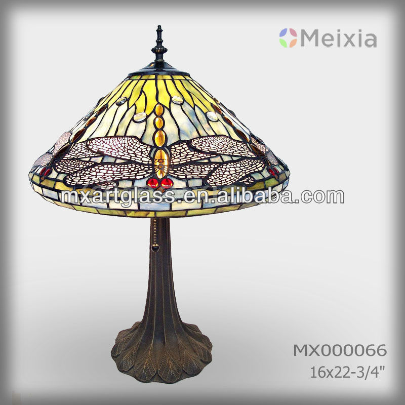 MX000066 hot stained glass tiffany style yellow dragonfly table lamp