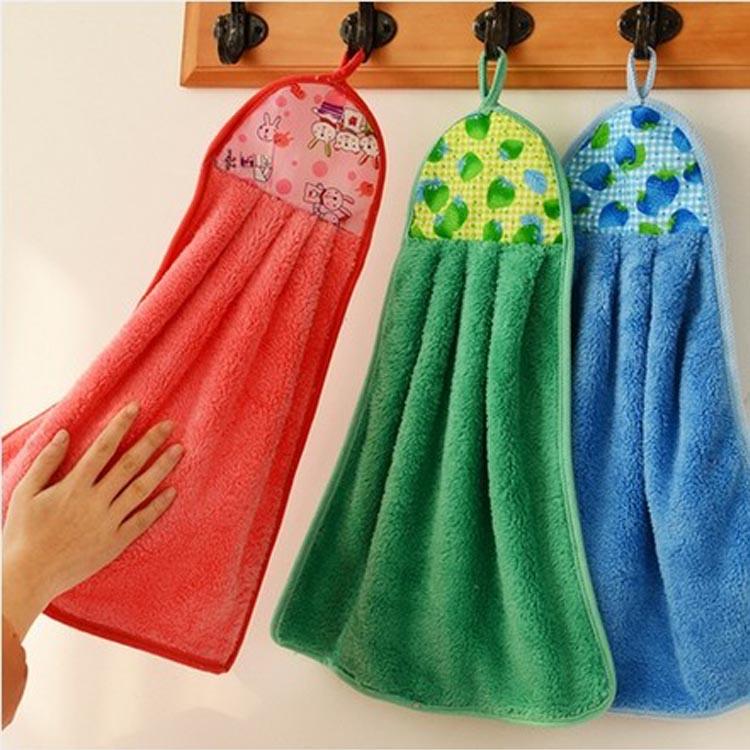 decorativo paño grueso y suave de coral colgante de cocina toallas ...