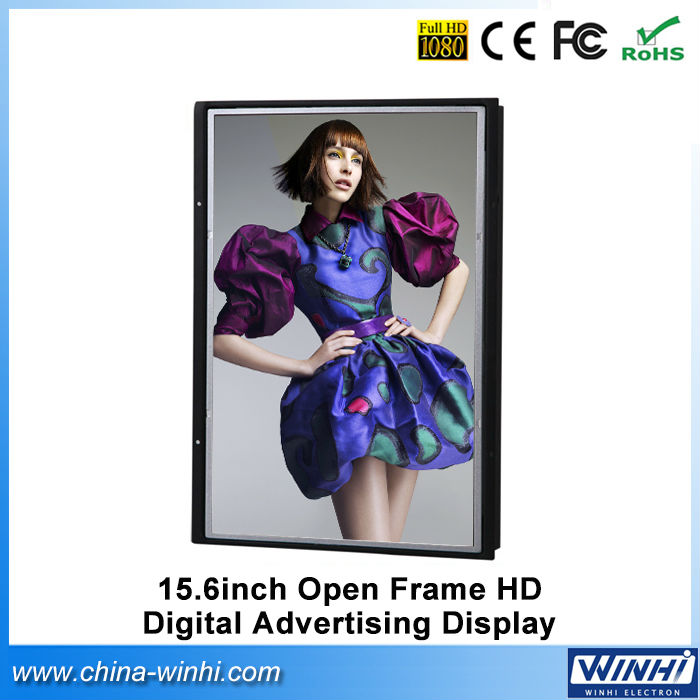 15.6 inch H.264 vertical lcd advertising tv digital signage hd videos indoor Full HD led display