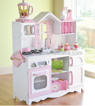 Classic color children big wooden kitchen play set toy
