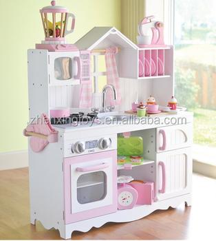 black color children big wooden kitchen play set toy - Kitchen Play Set