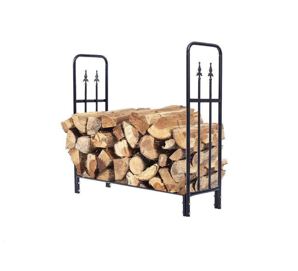 Daisy Days Firewood Storage Rack Holder 4 Feet Heavy Duty Steel Log Wood Outdoor Black