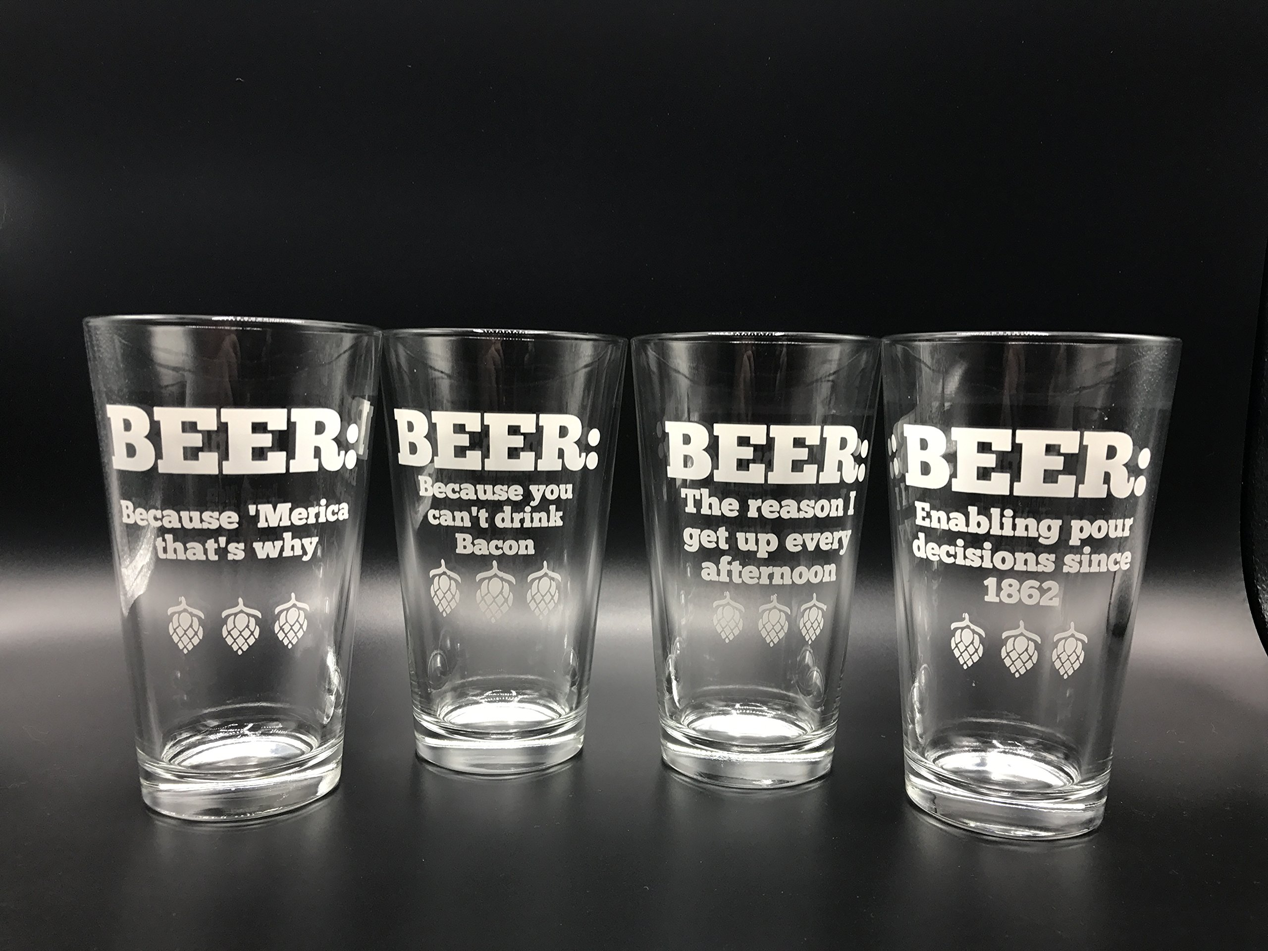 Pint Beer Glass 16oz Set of 4 Funny Quotes Pub Mixing Glasses Great Birthday & Wedding Present or Gift for Dad or Cocktails at the Summer Party or Home Bar!