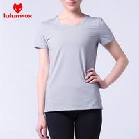 139-4 OEM 44%NYLON 43%POLYESTER 13%SPANDEX Slim Shin Kniteed Short SLeeves Seamless athetlic women custom t-shirt women