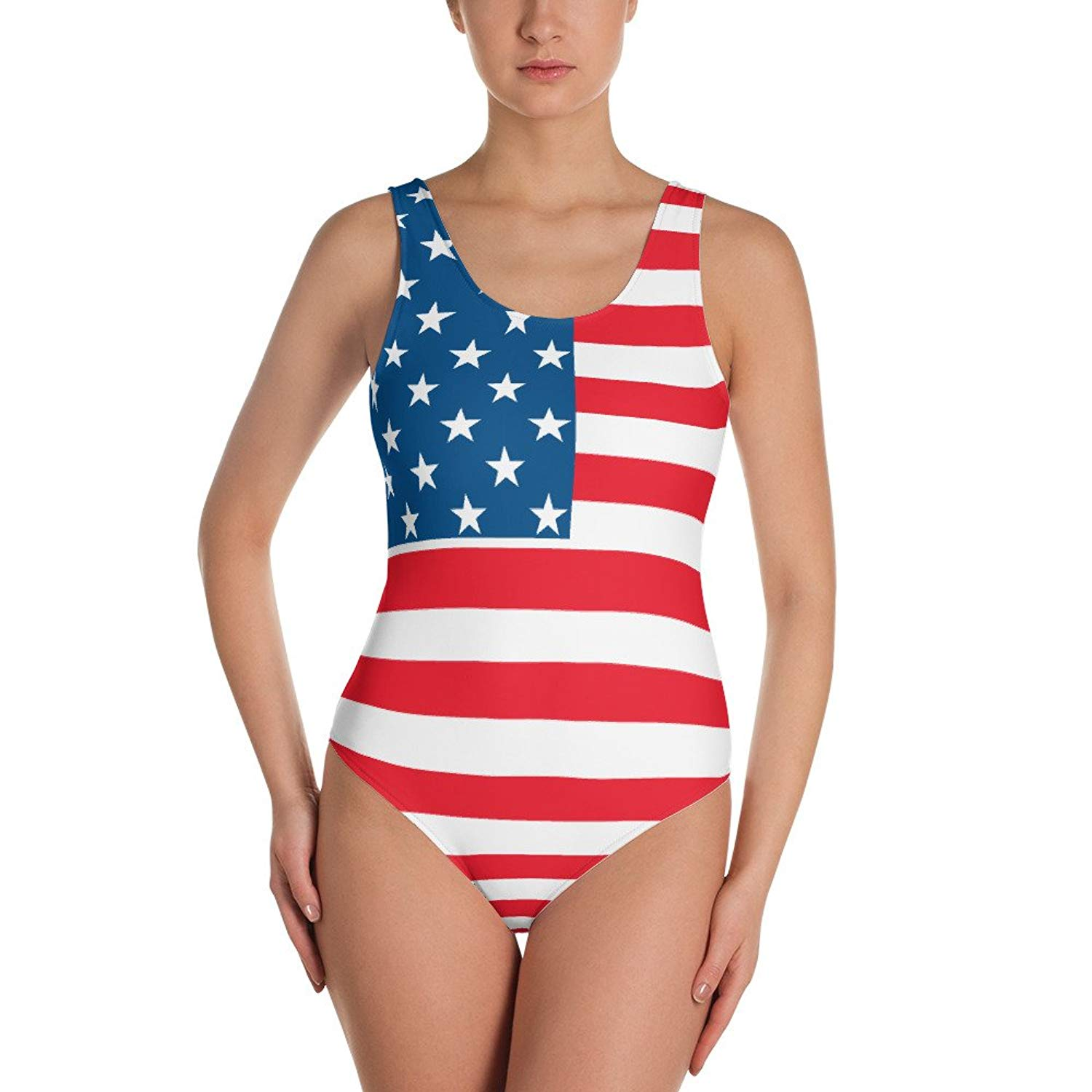 2c126f7c96aba Get Quotations · True Hue Apparel American Flag Print Women s One-Piece  Swimsuit July 4th