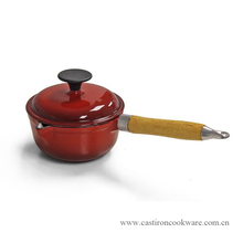 Arabic Colored Cheap Enameled Cast Iron Sauce Pan Pot Wooden Handle Sauce Pan Milk Pan
