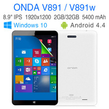 Intel Quad Core Dual Boot Win 10 8.1 Android 4.4 tablet pcs 8.9 inch IPS screen RAM 2GB ROM 32GB computers ONDA V891 V891W