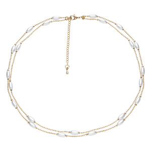 Alloy plating double layer pearl clavicular Chain Collar
