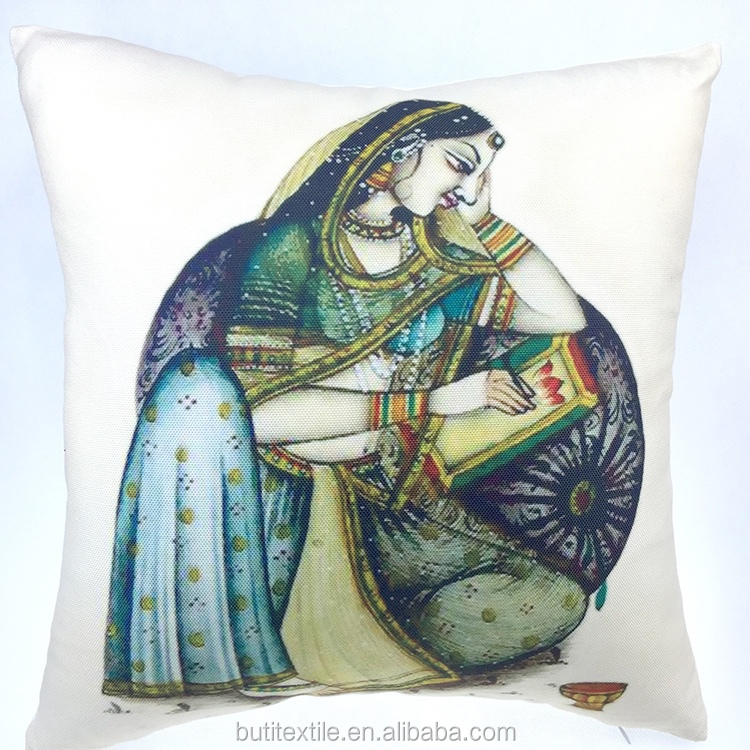 Indian Pillow Cover Rajasthani Traditional Lady Painting Design