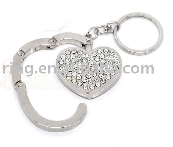 Rhinestone Folding Purse Hook Handbag Hanger Key Ring