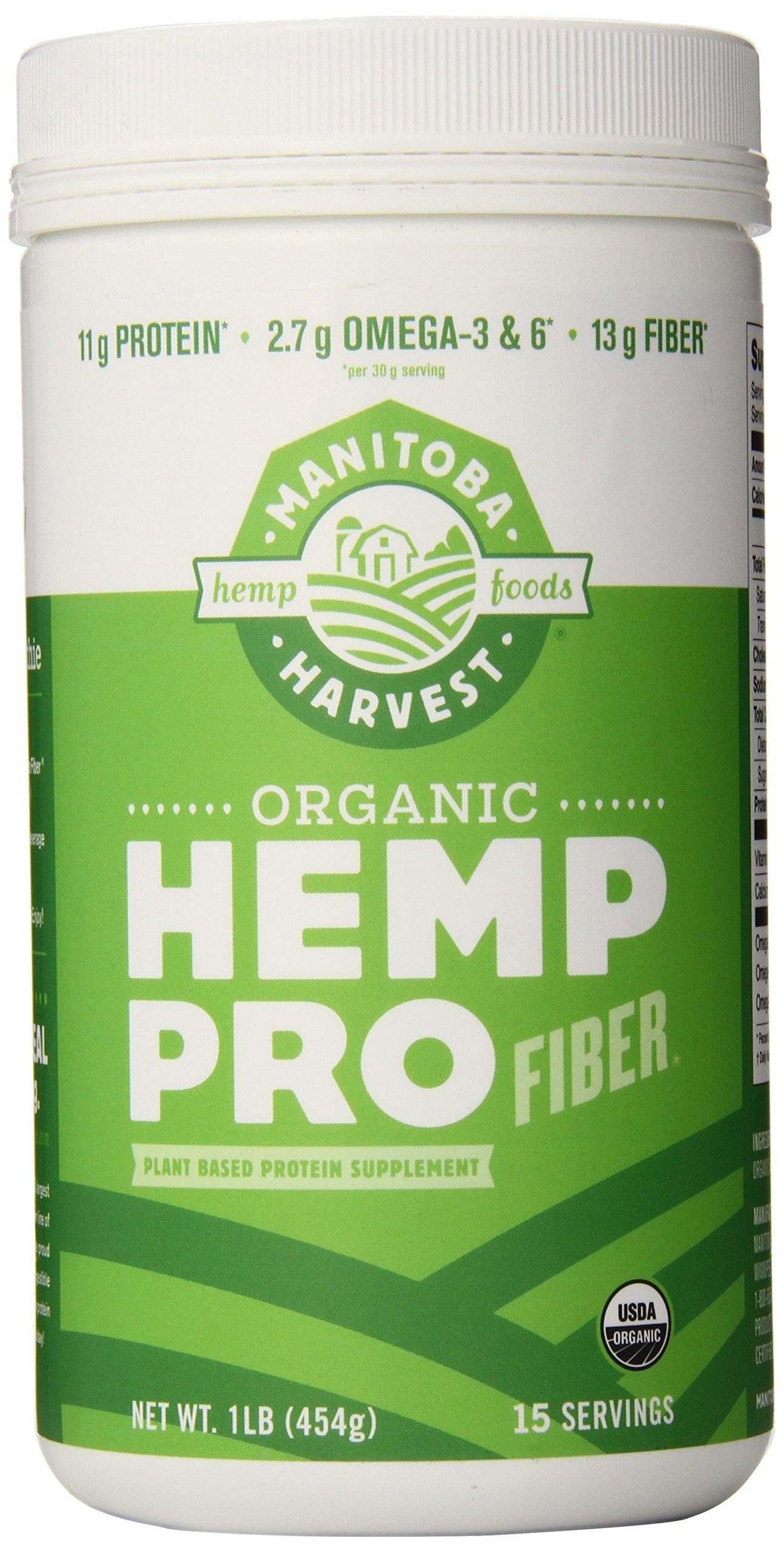 Manitoba Harvest Organic Hemp Pro Fiber Protein Powder, 16oz; with 13g of Fiber & 11g Protein per Serving, Preservative Free, Non-GMO