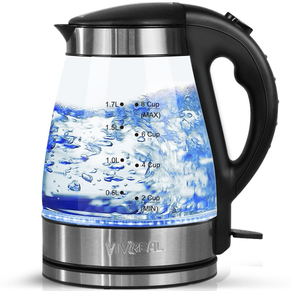 VIVREAL Electric Kettle - Water Kettle Tea Kettle 1500W 57Oz Electric Tea Kettle Fast Heating, Glass Electric Kettle with Blue Led, Borosilicate Glass, Boil Dry Protection & Automatic Shutoff
