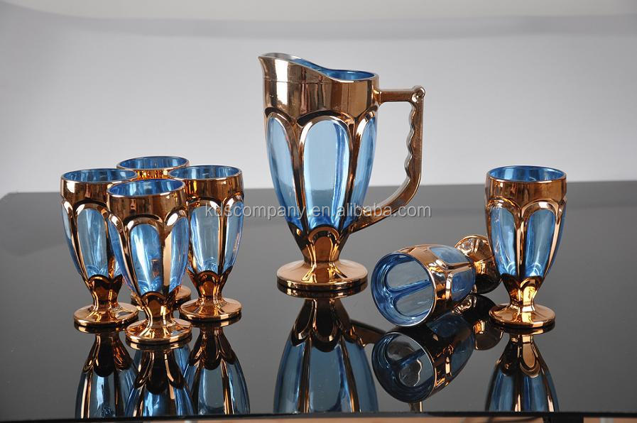 Gold Glass Water Jug And Cup Set With Lid
