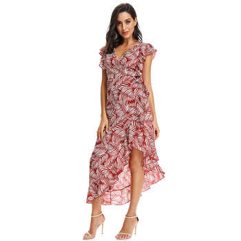 Wholesale holiday ladies women  fashionable printed beautiful elegant sexy  chiffon casual  dresses