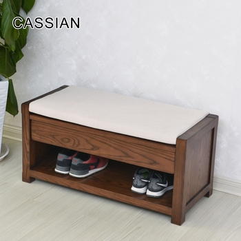 Wooden Shoe Storage Bench Sitting Stool With Storage Drawer