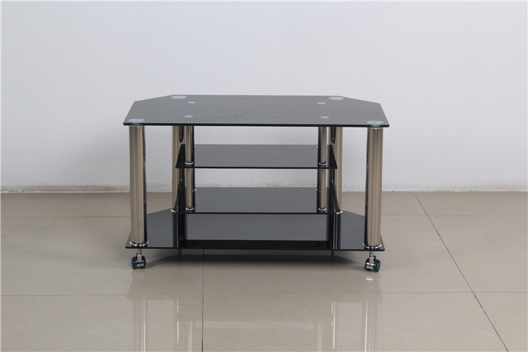 Simple Tempered Glass And Stainless Steel Leg Movable Tv