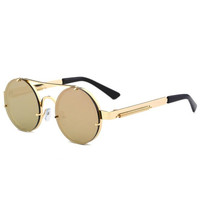YWLL Men Colored Metal Frame Fashion Stock Reflective Tinted Circle Style Retro Vintage Round Sunglasses For Women