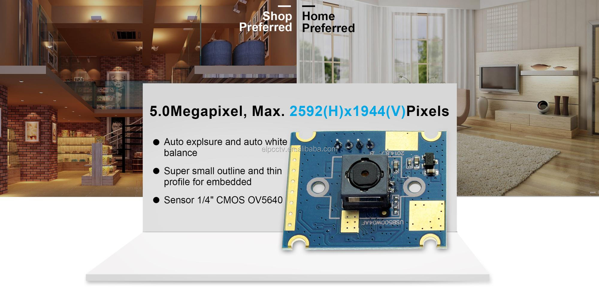 ELP 5MP High Resolution CMOS OV5640 60 degree Industrial Mini Auto Focus USB Camera For Android Linux Windows