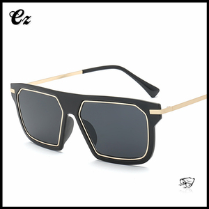 2017 Europe style fashion large square frame black aviator sunglasses