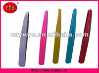 purple pink yellow blue and red colors. slant eyebrow tweezer