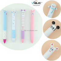 Cute cartoon character ball pen with two different color refills