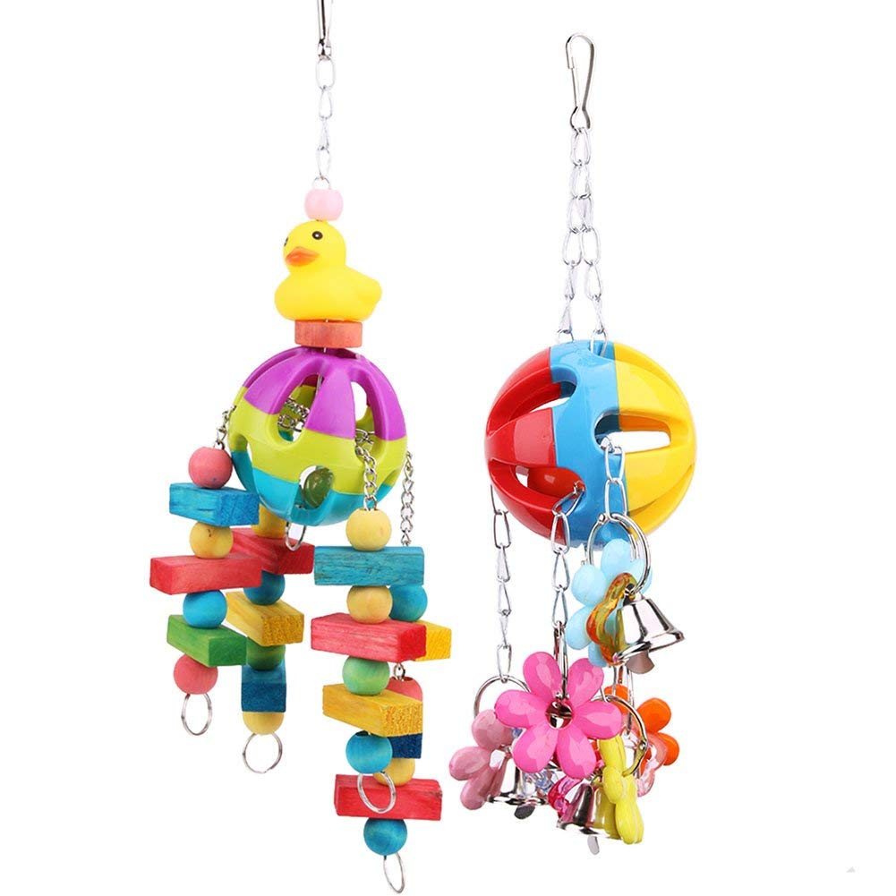 Westsell Acrylic Bird Bite Toys Colorful Pet Parrot Chew Toys Pet Bird Cage Hanging Bait Swing Cage Toys For Parrots Pet Bird Conure