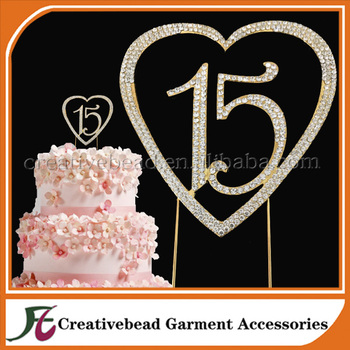 New Product Gold Handmade Wedding Decoration Rhinestone 15 Number Birthday Cake Topper For Sale