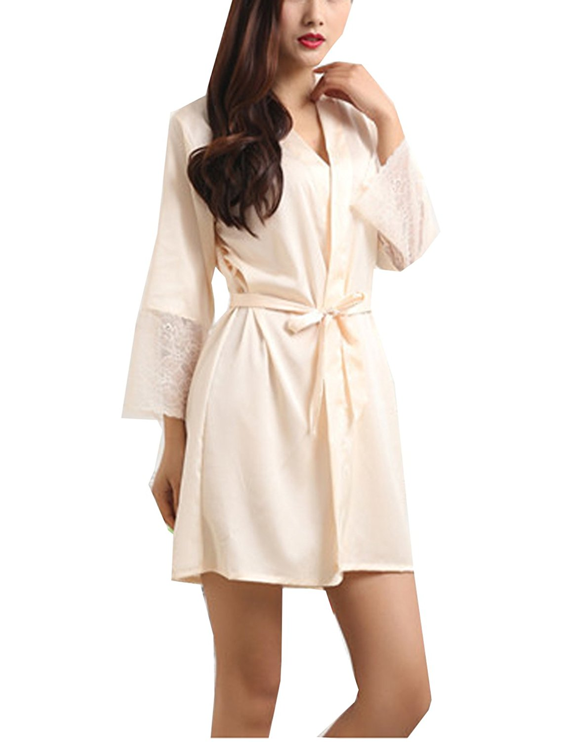 806564f23e3 Get Quotations · CoCoUSM Womens Lace Satin Short Kimono Robe Sleepwear(US  XS-L)