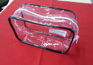 Round piping edge plastic pvc zipper cosmetic bags