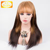 Hot sales top quality brazilian straight human hair full lace wig with bangs on sale