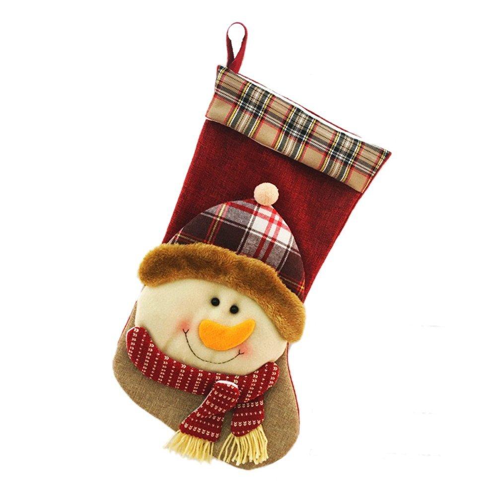 toponechoice handmade needlepoint felt santa xmas decoration christmas stockings snowman - Handmade Christmas Stockings