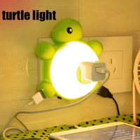 Double chargeable USB turtle light-controlled sound controlled LED night light with switch wall socket light