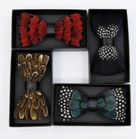 2019 mens bow tie set in a box Men's handmade natural feather bow tie