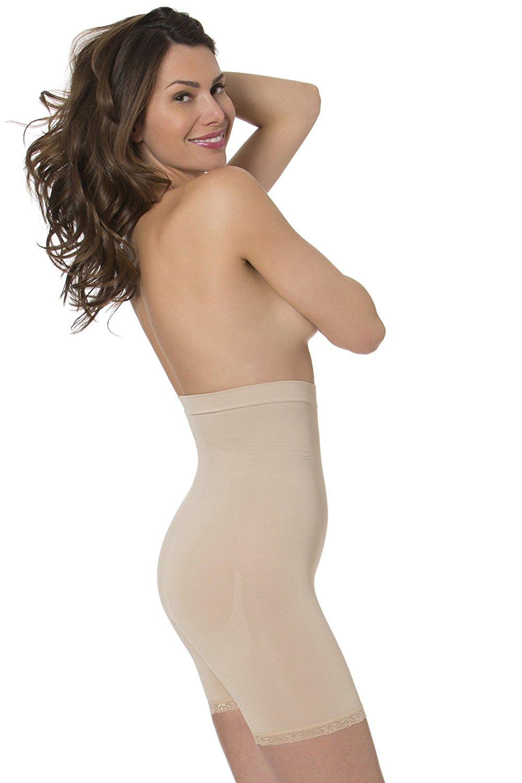 eaa3525e9c7 Get Quotations · N-Fini 1182 Anti-Cellulite Shapewear High Rise Short w   Lace-L