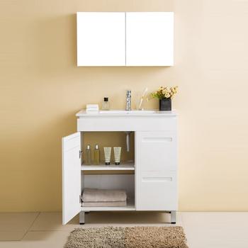 Floor Standing 1 Doors 2 Drawers Plywood Sink Bathroom Storage Cabinets With Mirror Cabinet