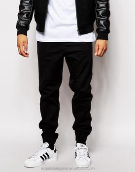 bf4e3f3c6934 new fashion chino jogger pants black color drawstring waistband men chino  jogger pants 100% cotton