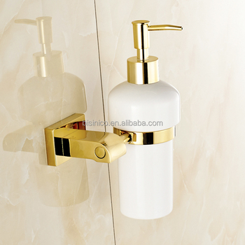 Brand New Luxury Design Liquid Soap Dispenser With Br Holder Pvd Gold Plated Shower