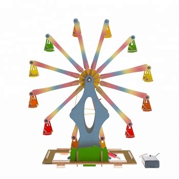 Electronic Belt Pulley Mini Wooden Ferris Wheel STEM Educational Toys