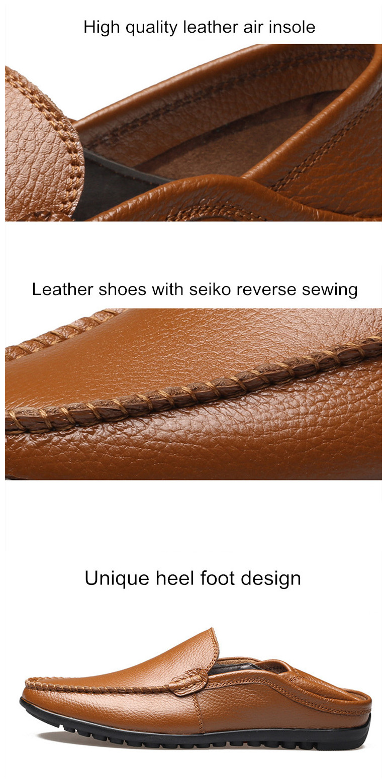 classic design men no laces stylish casual shoes cow genuine leather rubber outsole casual leather shoes for men