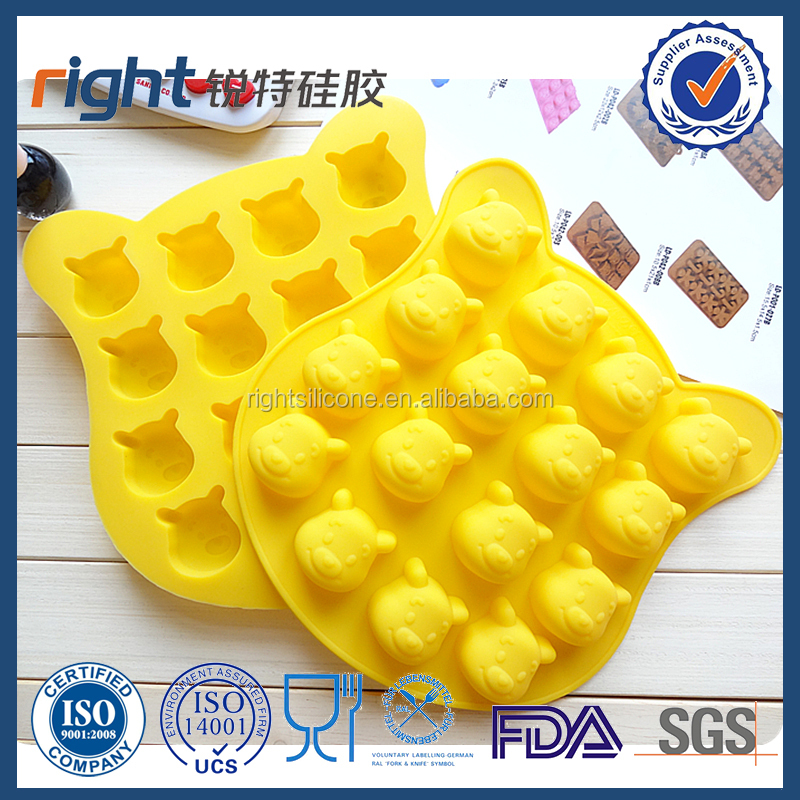 Silicone Winnie the PoohGummy Bear Mold for Making 16 Cute Mini Bears Hard Candies,Cookies, Chocolates and Ice Cube Tray