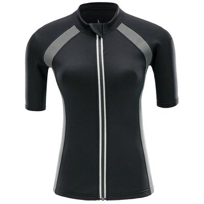Newest Waterproof Ultra Sweat Sauna Neoprene Short Sleeve Zipper Sport Coat Shirt for Women