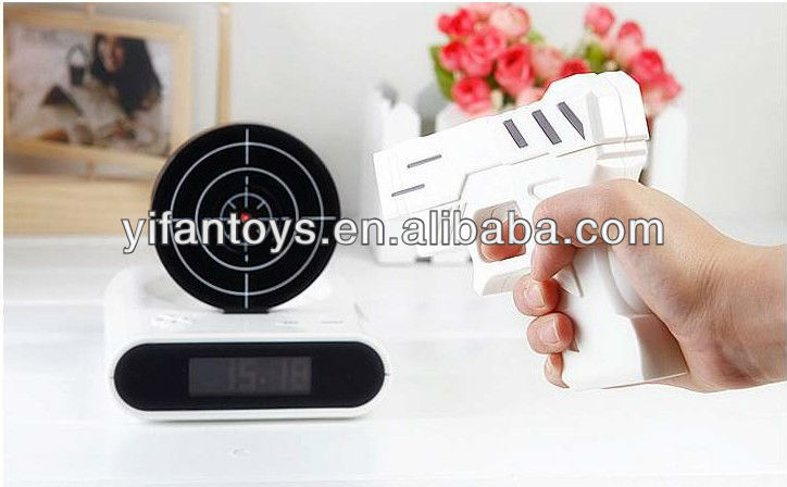 Hate to Get Up from the Bed? Infrared Gun Alarm Clock Toys Clock Helps You
