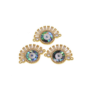 Crystal Micro Pave Mosaic Abalone Shell Jewelry Connector Charm Beads
