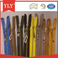 Wholesale custom length two way gold metal zippers for jeans